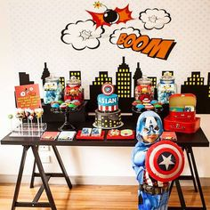 You're going to LOVE this classic superhero themed birthday party on www.KarasPartyIdeas.com by @Oh Feri Event Styling!
