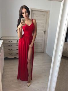 Nice Spaghetti Straps A-Line Prom Dresses, Chiffon Evening Dresses,V-Neck Prom Dresses Formal Gowns
