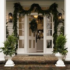 Welcome Guests With Festive Porch Planters - Vintage Christmas Decorations - Southern Living Christmas Window Boxes, Christmas Porch, Noel Christmas, Outdoor Christmas, Winter Christmas, All Things Christmas, Vintage Christmas, Christmas Decorations, Xmas
