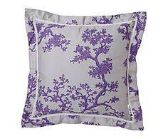 Coussin FENG coton, violet et blanc - 45*45