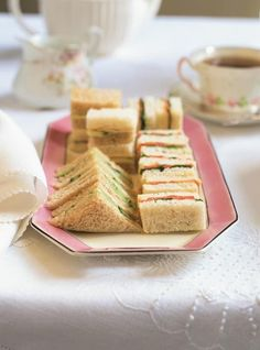 5 Tea Sandwich Filling Ideas: Hosting a tea party or themed baby or bridal shower? Then these delectable tea sandwich ideas are a must! Tea Party Sandwiches, Finger Sandwiches, Afternoon Tea Recipes, Afternoon Tea Parties, Cold Appetizers, Appetizer Recipes, Appetizer Ideas, Party Appetizers, Party Nibbles