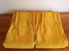 1960s Harvest Gold / Mustard Yellow Woven Pinch Pleats Curtains 2 Panels