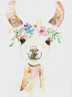 Princess Llama watercolor painting print 16 x 20