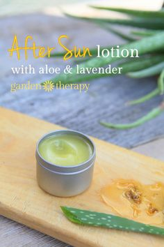 Homemade after sun lotion with aloe and lavender
