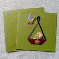 Carte naissance origami en papier japonais 126