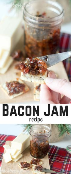 Bacon Jam Recipe. Sweet, salty and savory with brown sugar. Spread on crackers, bruschetta, baked brie or top baked potatoes or grilled meat! So versatile, and so yummy.