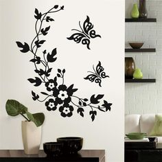 classic black flower pegatinas de pared sticker with butterfly home wedding decoration wall stickers for TV wallposter decor * You can get more details by clicking on the image. #HomeDecor