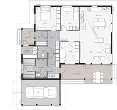 Kontio Koivuranta is well-suited to suburban areas. It includes a carport, and the main entrance is conveniently located at the end of the building. Main Entrance, Glass House, House In The Woods, Log Homes, My Dream Home, Future House, Living Area, House Plans, Sweet Home