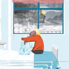 """by Sonia Pulido, Illustration for the book review """"My name is Lucy Barton"""" by Elisazabeth Strout written by Laura Collins-Hugues for the Boston Globe."""