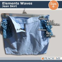 PeachyMe  Elements Wave Jean Skirt by peachymedesigns on Etsy, $35.00