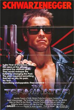 """""""The Terminator"""" (1984) the original sci-fi thriller that made Schwarzenegger an international star as the relentless cyborg sent back in time to kill the mother of the future human resistance leader. James Cameron, visionary director, special effects by the late great Stan Winston!"""