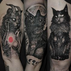 Satan tattoos attract, manipulate people to sin, shock the publicity and have varied meanings. These tattoos represent occultism, Satanism, and the denying of religion. Tatoo Art, Body Art Tattoos, New Tattoos, Cool Tattoos, Satanic Tattoos, Spooky Tattoos, Gotik Tattoo, Black Cat Tattoos, Scary Cat