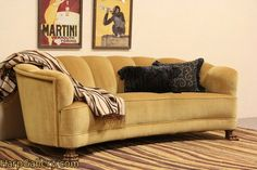 SOLD - Art Deco 1930's Curved Sofa, Paw Feet - Harp Gallery Antique Furniture