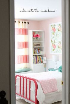 Polka dots, stripes and florals for a girls bedroom, cute!   girls room ideas, girls room, girls room decor, girl room ideas, room girls, girl room, girl rooms, room decorations for girls, kids room decor for girls, girls bedroom, girl bedroom, girls bedroom ideas, girls bedroom decor, bedroom theme ideas, bedroom themes
