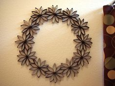 Toilet Paper Flower Wreath-all made from recycled materials!  Brilliant!