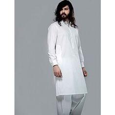 Handsome desi kurta salwar outfit for men in off white (offwhite) colour. Buy online at http://www.Needlehole.co.uk