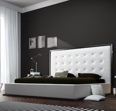Ludlow King Bed in Wenge/White Leather