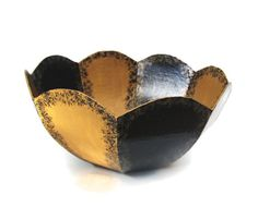 Decorative #Bowl hand painted in black and #gold by FischerFineArts, $32.00 #homedecor