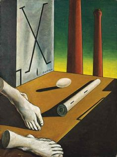 "by Giorgio de Chirico (Italian 1888~1978) was an artist , who in the years before WWI founded 'The Scuola Metafisica"" ART Movement, which profoundly influenced the Surrealists. After 1919, he became interested in traditional painting techniques, and worked in a neoclassical or neo-Baroque style, while frequently revisiting the metaphysical themes of his earlier work."