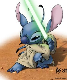 Jedi Master Stitch: Walt Disney Studios is now owner of Lucas Film. Does this make Leia a Disney princess? Disney Stitch, Lilo E Stitch, Cute Stitch, 626 Stitch, Stitch Movie, Art Disney, Disney Kunst, Disney Love, Disney Drawings
