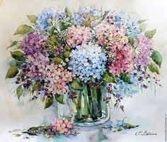 Купить Нежная гортензия - голубой, нежность, розовый, сиреневый, цветы, букет, акварель, картина в подарок