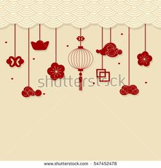 Chinese new year background with Chinese New Year decorative elements Chinese New Year Kids, Chinese New Year Crafts, Chinese New Year Background, New Years Background, Chinese New Year Decorations, New Years Decorations, New Year Diy, New Year Card, New Year's Crafts