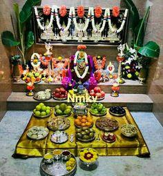 Pooja Room Door Design, Bedroom Door Design, Festival Decorations, Flower Decorations, Silver Pooja Items, Home Temple, Flower Rangoli, Puja Room, Bungalow House Design