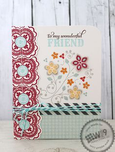 Jean Martin for Wplus9 featuring Embroidered Bouquet stamps and Lacey Layers stamps and dies.