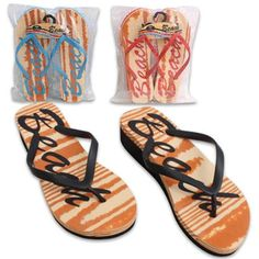 c2416426c3057d Women s BEACH Wedge Flip FlopsThese flip flops features a stylish design  with the word Beach written