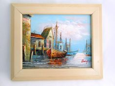 Sailboats in Harbor Signed Original Oil Painting by my3luvbugs