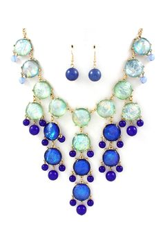 Bubble Necklace Set in Watercolor of Blues on Emma Stine Limited