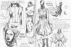 Here's another sketchbook spread from Alexander McQueen's 'Savage Beauty' show at the Met.