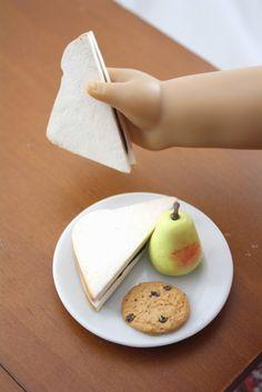 pippaloo for dolls: Molly's Lunch Set peanut butter & jelly sandwich cut lengthwise pear oatmeal raisin cookie milk American Girl Food, Menu List, Oatmeal Raisin Cookies, Doll Food, Peanut Butter, Lunch, Snacks, Dolls, Pear