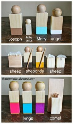 """That's My Letter: """"N"""" is for Nativity Figures, diy wood nativity figures for kid friendly manger scene"""