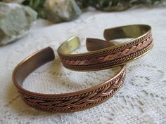 Genuine Copper and Brass Celtic Knot Bracelet set