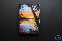 Sunset over the lake polymer clay notebook/journal cover size A6 Perfect as a gift! ✽ Size A6-[ 148 x 105 mm / 5.8 x 4.1 in ]-only front cover -If you have any questions Please just ask! ✈ shipping method: -I send my parcels with a standard delivery via Royal Mail, but parcels worth more than 50 GBP will be send with tracked and signed service :) ✽ You can read more information about my work on my blog: http://artisticvariations.blogspot.co.uk/ or visit my fanpage FACEBOOK: https://w...