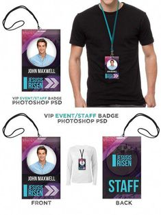 Press Pass / Credentials PSD Template – Modern Staff Badge This is a great design for Christian concert or event, use it for a VIP or Event Staff pass. Name Tag Design, Id Design, Badge Design, Graphic Design, Id Card Template, Card Templates, Identity Card Design, Lanyard Designs, Event Id