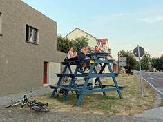 High picnic table in Oranienburg, Germany.
