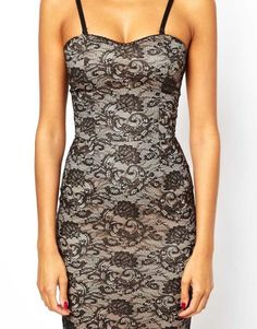 Lace Body-Conscious Dress with Cami Straps...reminds me of a Posh Spice type dress lol