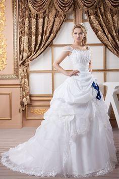 Robe de mariée larges bretelles ample de traîne moyenne avec zip avec perle