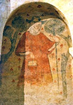 Villeneuve d'Aveyron, early 1300s. Pilgrims painted on walls (see shell on hat).