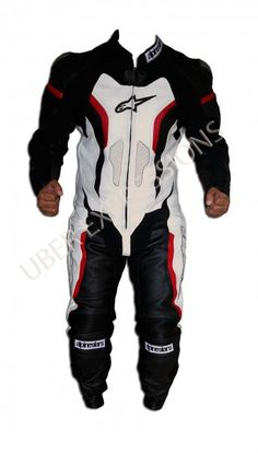 Alpinestars GP Pro White, Black, Red Motorbike Racing Leather Suit