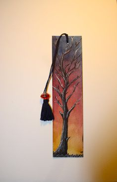 Items similar to Watercolor Bookmark of a Tree at Sunset, Hand-painted Original Artwork, Laminated on Etsy Creative Bookmarks, Paper Bookmarks, Watercolor Bookmarks, Corner Bookmarks, Watercolor Cards, Handmade Bookmarks, Watercolor Painting, Arte Country, Coffee Painting