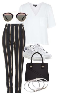 """""""Untitled #3264"""" by bubbles-wardrobe ❤ liked on Polyvore featuring Topshop, adidas Originals, Victoria Beckham, Christian Dior and Forever 21"""