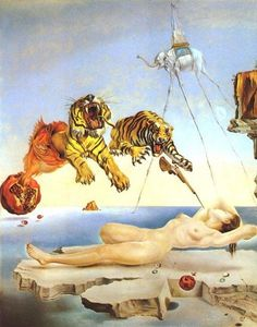 Dream Caused by the Flight of a Bumblebee around a Pomegranate a Second Before Awakening - Dali, 1944