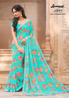 Buy this Spectacular Sea Green Georgette Floral Printed Saree and Sea Green Georgette Blouse along with Rawsilk Lace Border from Laxmipati. Laxmipati Sarees, Lehenga Style Saree, Georgette Sarees, Saris, Floral Print Sarees, Printed Sarees, Shiffon Saree, Indian Sarees Online, Saree Shopping