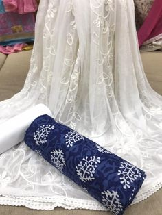 Cotton Denim Dress Material For Women's by Veenapani - Online shopping for Unstitched Dress Material on MyShopPrime - DMRCHY Kurti Designs Party Wear, Kurta Designs, Saree Blouse Patterns, Saree Blouse Designs, Salwar Dress, Anarkali, Salwar Kameez, Girls Frock Design, Bodycon Outfits