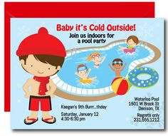 Indoor Pool Party Invitation, Winter Pool Party Birthday Invitation, Printable for Boys Pool Party Birthday Invitations, Birthday Parties, 10th Birthday, Winter Birthday, Birthday Ideas, Printable Invitations, Printables, Invites, Instant Access