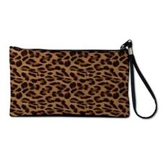 """leopard Clutch Bag Made of elegant and durable microfiber, this pretty womens clutch bag is super cute. The womens wristlet wallet includes unique designs sure to impress. Take this small clutch purse out on the town! Self-zip wristband handle functions as top closure 6"""" interior zipper pocket Interior attached key fob 10"""" W x 5.5"""" H x 1.75"""" D"""
