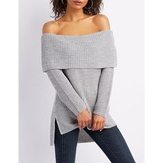 Charlotte Russe Foldover Off-The-Shoulder Sweater ($20) ❤ liked on Polyvore featuring tops, sweaters, grey, chunky sweater, oversized sweaters, off the shoulder sweater, chunky grey sweater and over sized sweaters